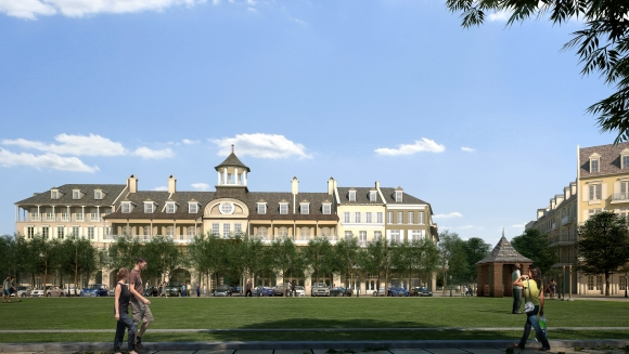 Pointe-Marie Rendering 2 - Front Village Center Building - Street Level View
