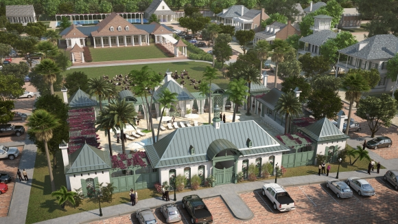Pointe-Marie Rendering 7 - Central Square Pool, Park and Meeting House