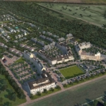 Pointe-Marie Rendering 1 - Aerial from River Road